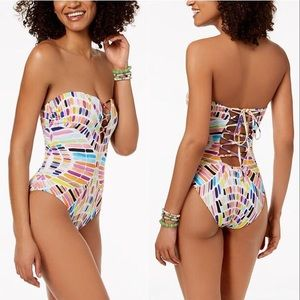 Bar III Kaleidoscope Lace-Up One-Piece Swimsuit L